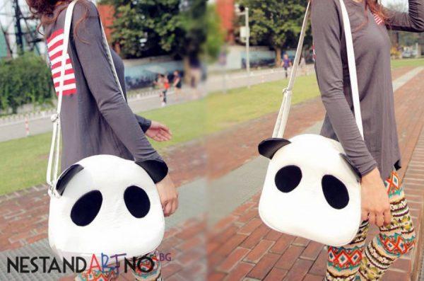 Дамска чанта Панда в Бяло