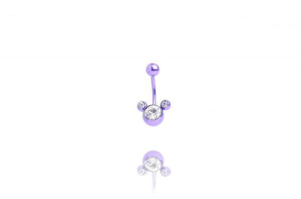 Обеца за пъп Purple Mickey