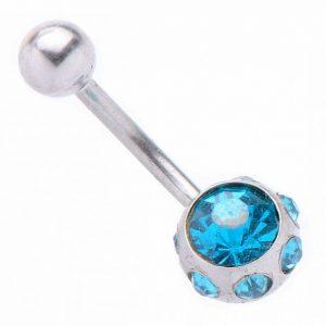 Обеца за пъп Blue Crystals