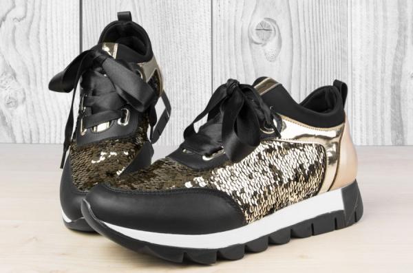 Дамски обувки с двуцветни пайети Черно/Златисто