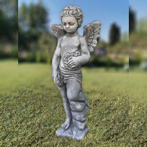Градинска бетонна статуя фигура на Ангел в сив цвят