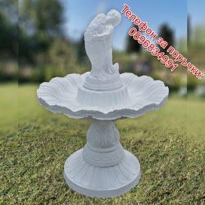 Градински фонтан / шадраван от 4 части със статуя бебе с риба от бетон в бял цвят