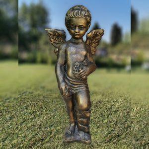 """Градинска бетонна статуя фигура на Ангел в цвят """"Патирано златно"""""""