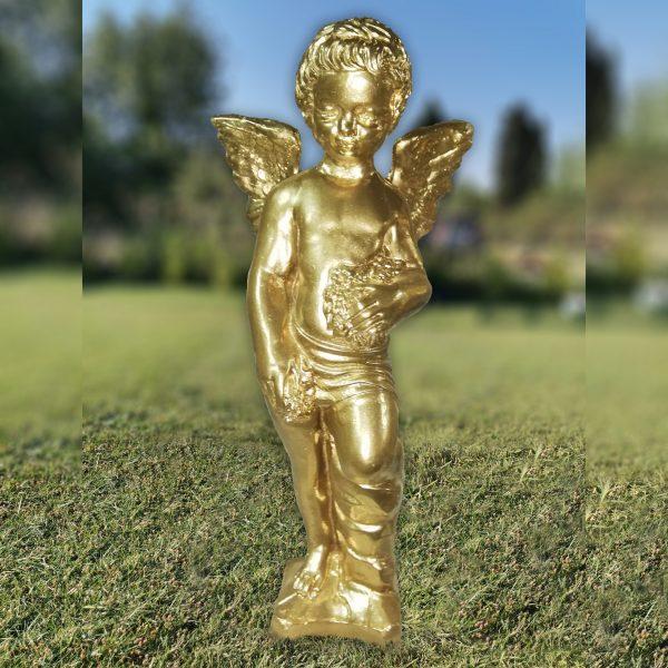 """Градинска бетонна статуя фигура на Ангел в цвят """"Злато"""""""