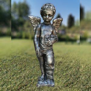 Градинска бетонна статуя фигура на Ангел в цвят Патирано сребърно