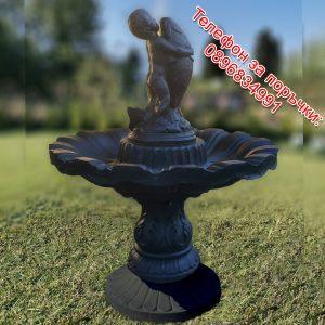 Градински фонтан / шадраван от 4 части със статуя бебе с риба от бетон в черен и сребърен цвят