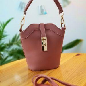 Малка дамска чанта Brooklyn + дълга и къса дръжка. Цвят - пепел от рози