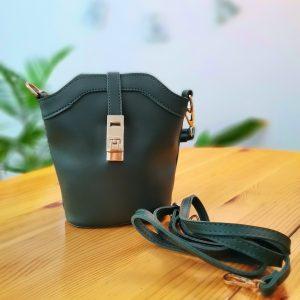 Малка дамска чанта Brooklyn + дълга и къса дръжка. Маслено зелен цвят