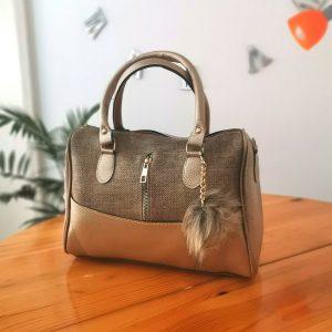 Дамска чанта Maria в златист и златист цвят + дълга дръжка