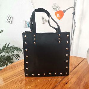 Стилна дамска черна чанта Elizabeth с къса и дълга дръжка