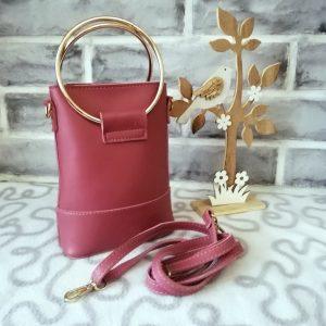 Елегантна малка чантичка Samantha + дълга дръжка - цвят пепел от рози