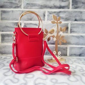 Елегантна малка чантичка Samantha + дълга дръжка – червен цвят