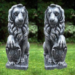 Статуя голям ЛЪВ от бетон - ляв и десен. Градинска фигура. Черен цвят