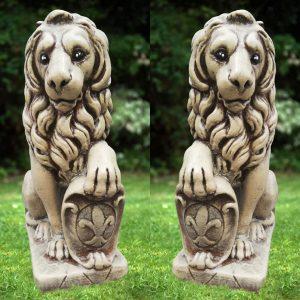 Статуя голям ЛЪВ от бетон – ляв и десен. Градинска фигура. Кафяв цвят