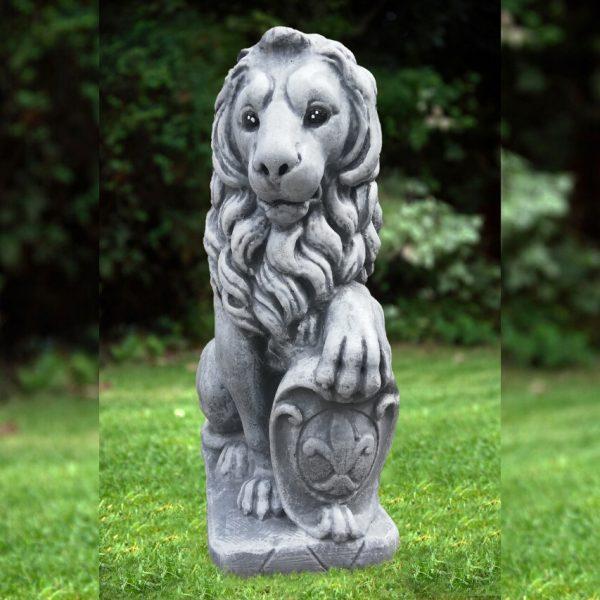 Статуя голям ЛЪВ от бетон - ляв и десен. Градинска фигура. Сив цвят